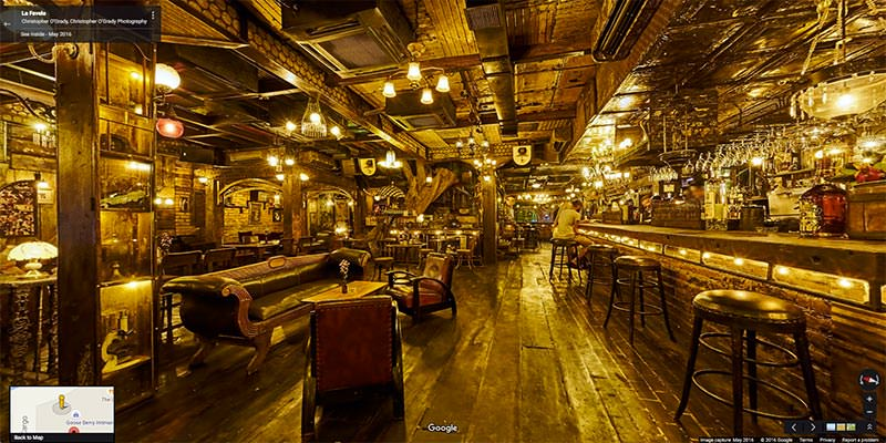 Google Virtual Tour showing the interior of the La Favela bar and restaurant in Seminyak, Bali