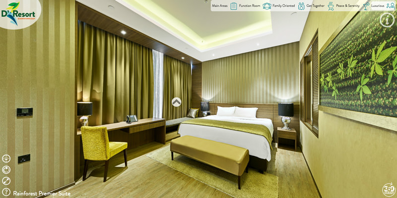 360 virtual tour image showing luxury hotel room of d resort in singapore