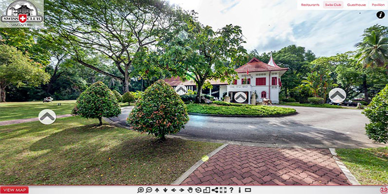 Custom 360 Virtual Tour for Swiss Club Country Club in Singapore showing main clubhouse.