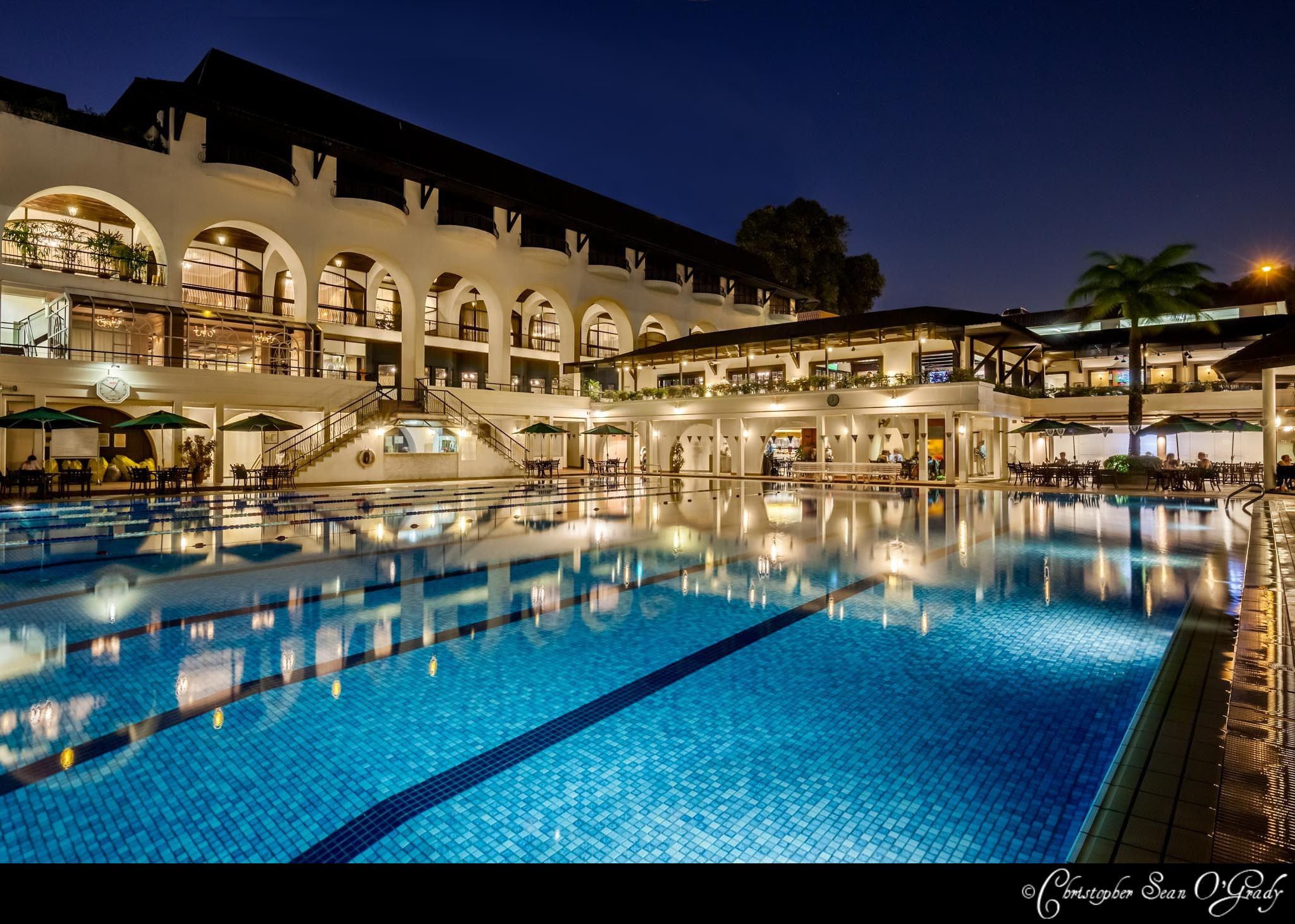 Architectural Photography Tanglin Club Singapore Night Pool