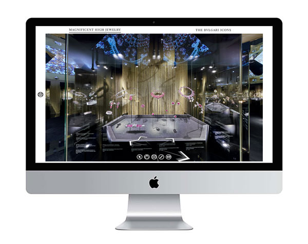 device mockup of the 360 virtual tour created for Bvlgari at the kremlin in moscow on an imac display