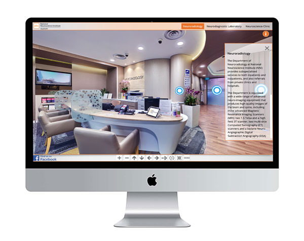 device mockup of the 360 virtual tour for the national neuroscience institute of singapore on an imac screen