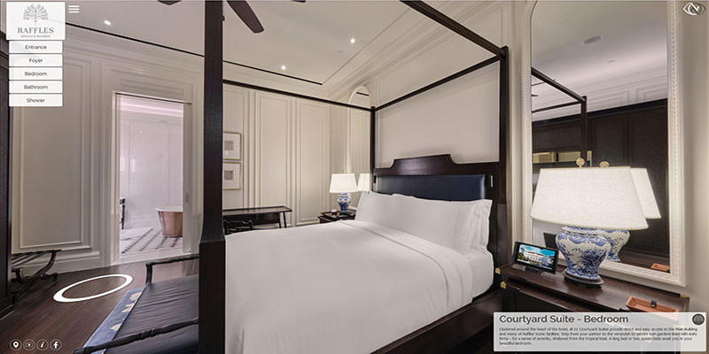 360 virtual tour at raffles hotel in singapore of the courtyard suite bedroom