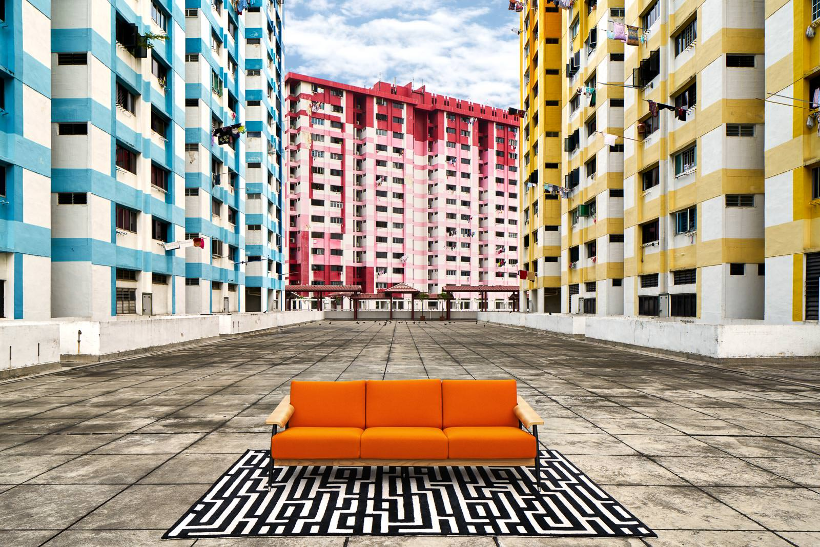 Furniture Photography at Rochor Centre with Orange Sofa and Rug