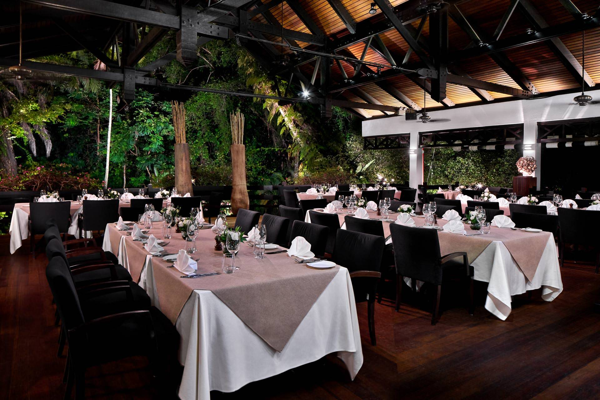 Architectural photography or arbenz restaurant at night at Swiss Club in Singapore